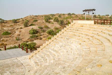 teatro antiguo: Ancient Roman theatre, Kourion archaeological park in Cyprus Foto de archivo