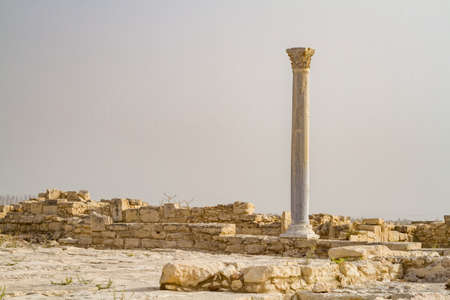 ruins is ancient: Archaeological remains of ancient greek city, Kourion Archaeological Park in Cyprus