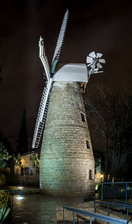 Montefiore Windmill at night illuminated by electric light, Jerusalem, Israel