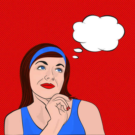 woman dreaming: Young woman brunette in blue dress dreaming. Pop art with the speech bubble on red background. Vector illustration in comic style Illustration