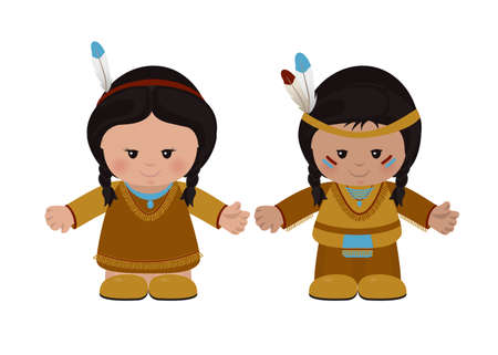 native american ethnicity: Cartoon characters of American Indians, man and woman in national dress. Vector illustration Illustration