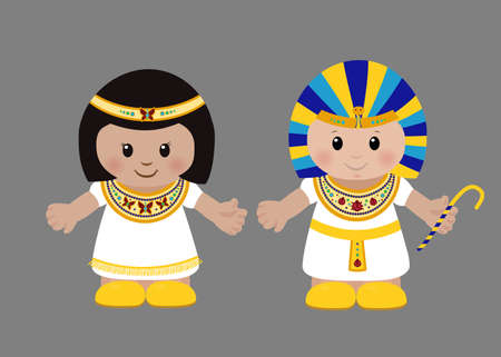 Cartoon characters of Pharaoh and Cleopatra in ancient Egyptian clothing. Vector illustration Ilustração