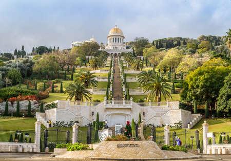 bahai: HAIFA, ISRAEL - JANUARY 10: View of the Bahai gardens in Haifa, Israel on January 10, 2016