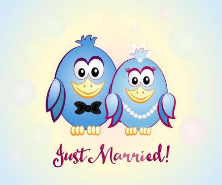 Paar van blauwe vogels bruid en bruidegom, inschrijving Just Married. Vector Illustratie