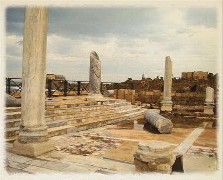 bible story: Digital imitation of watercolor painting, Herods palace ruins in Caesarea, Israel
