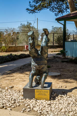 important people: SDE BOKER, ISRAEL - MARCH 18: Sculptor: Rafael Maimon, sculpture of David Ben-Gurion standing on his head in kibbutz Sde Boker, Israel on March 18, 2016