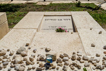 kibbutz: SDE BOKER, ISRAEL - MARCH 18: Grave of David Ben-Gurion in kibbutz Sde Boker, Israel on March 18, 2016