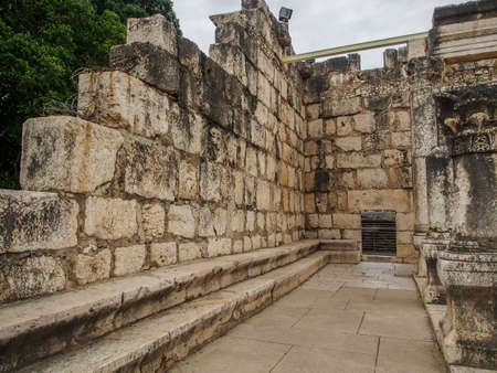 Ruins of synagogue in ancient Capernaum, archaeological site in Galilee, Israel