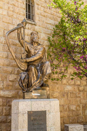 harp: JERUSALEM, ISRAEL - JANUARY 14: Monument of King David with the harp in Jerusalem, Israel on January 14, 2016
