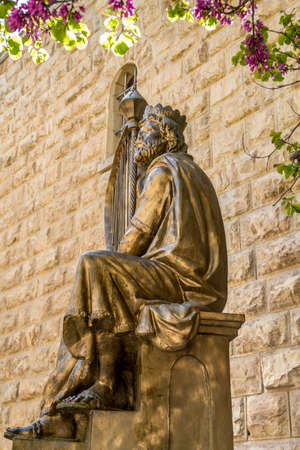 JERUSALEM, ISRAEL - JANUARY 14: Monument of King David with the harp in Jerusalem, Israel on January 14, 2016