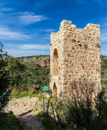 mountainous: The ruins of the Montfort Castle in the mountainous area of the Upper Galilee, Israel Stock Photo