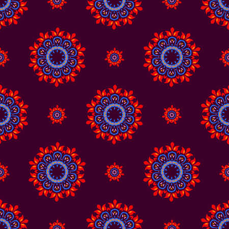 burgundy background: Ethnic floral pattern, seamless ornament, burgundy background