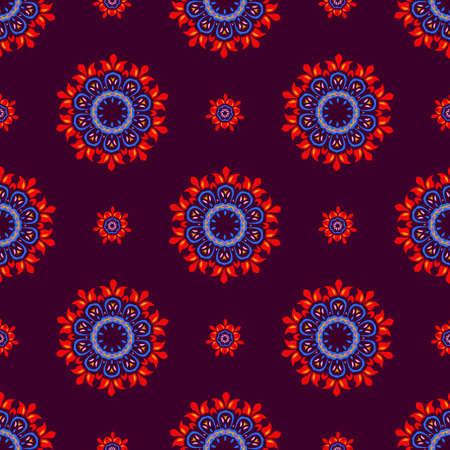 burgundy background: Ethnic floral pattern, seamless ornament, burgundy background