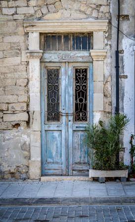 fanlight: Old door with vintage decorative lattice in Cyprus