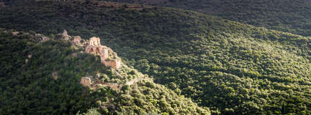 nahal: Mountain landscape, view of the Montfort Castle in Upper Galilee, Israel Stock Photo