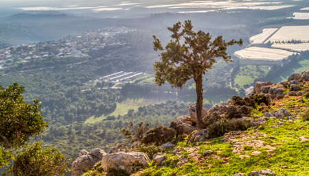 Mountain landscape, view of the mountainous area of Upper Galilee, Israel
