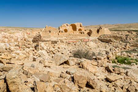 nabataean: The ruins of the ancient city. Shivta, Nabataean Town on the ancient spice route in the Negev Desert, Israel Stock Photo