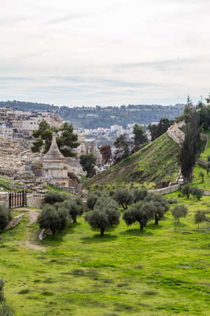 mount of olives: Tomb of Absalom with a conical roof, at the foot of the Mount of Olives. Kidron Valley in Jerusalem, Israel Stock Photo
