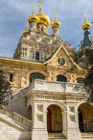 mount of olives: JERUSALEM, ISRAEL - JANUARY 5: The Church of Mary Magdalene or Russian Ortodox Convent of St. Mary Magdalene, Mount of Olives in Jerusalem, Israel on January 5, 2016
