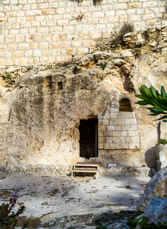 sepulcher: Entrance to the tomb. The Garden Tomb in Jerusalem, Israel