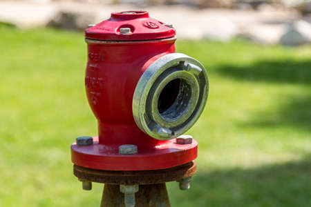 middle east fighting: Red fire hose connector, fire hydrant on the background of green grass, fire fighting equipment Stock Photo