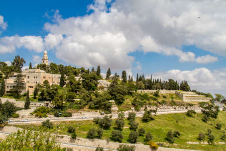 JERUSALEM, ISRAEL - APRIL 4: The Dormition Abbey and the Institute for the Study of the Bible, outside the walls of the Old City in Jerusalem, Israel on April 4, 2015
