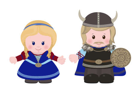 Cartoon characters of Vikings, man and woman in in ancient scandinavian clothing. Illustration