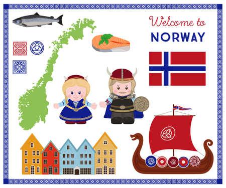 Bienvenido a Noruega, símbolos escandinavo tradicional dispuestos con personajes de dibujos animados de vikingos en la antigua ropa escandinavo.