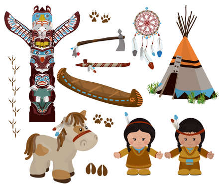 Traditional indian symbols set with cartoon characters of American Indians, man and woman in national dress. Vettoriali