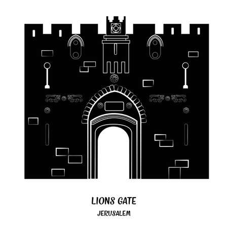 byzantine: Lion Gate in Old City of Jerusalem. Black and white illustration