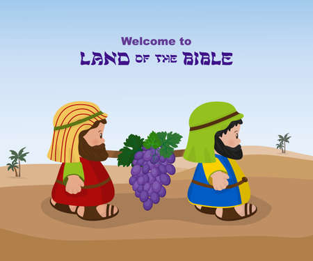 Two spies, ancient Israelites carry a bunch of grapes of Canaan from the Promised Land Illustration