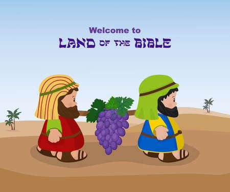 Twee spionnen, oude Israëlieten dragen een tros druiven van Kanaän uit het Beloofde Land Stock Illustratie