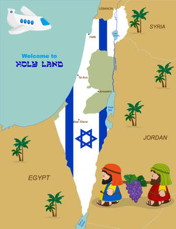 holy land: Welcome to Holy Land, map of Israel with flag and cartoon characters of Two spies of Israel carrying grapes. Vector illustration
