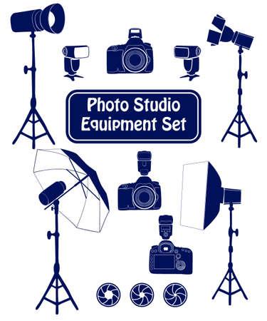 photo studio: Photo studio equipment cartoon set. Vector illustration Illustration