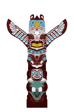 monumental: Indian totem pole - stylized monumental sculpture with figures of animals, vector illustration in cartoon style