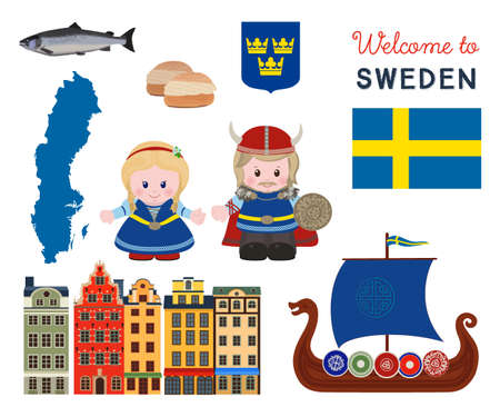 Welcome to Sweden, traditional scandinavian symbols set with cartoon characters of vikings in ancient scandinavian clothing. Vector illustration Stock Illustratie