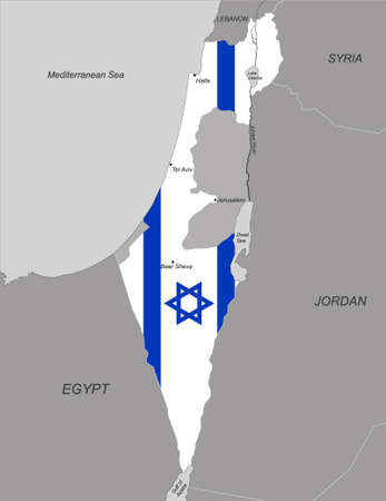 Map of Israel with national flag inside. Vector illustration
