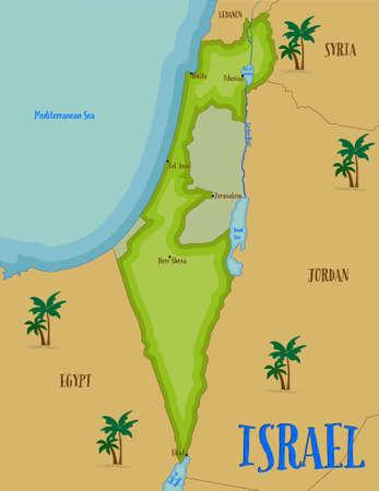 Benvenuti in Terra Santa, la mappa di Israele in stile cartoon. illustrazione di vettore Vettoriali