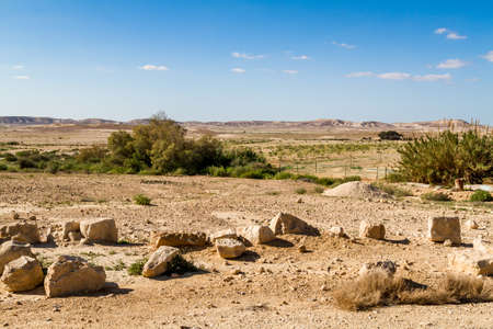 Landscape Makhtesh Gadol or Large Crater, nature reserve in Negev desert in the early spring, Israel Banco de Imagens
