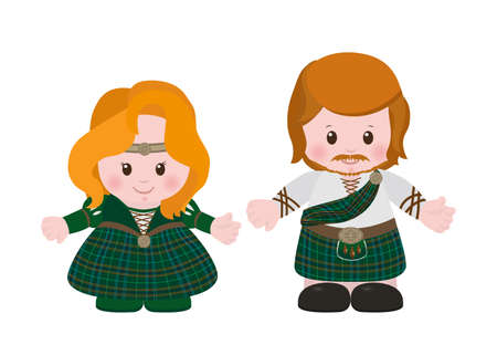 Cartoon characters of Scots, man and woman in national dress tartan. Vector illustration