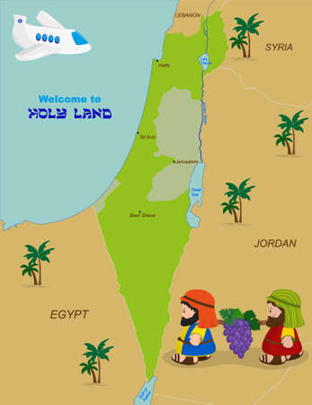 Welcome to Holy Land, map of Israel with cartoon characters of Two spies of Israel carrying grapes. Vector illustration Illustration