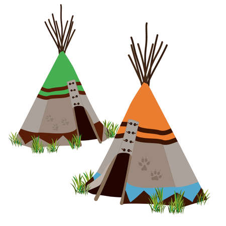 nomadic: Tipi, traditional dwelling by Indigenous people of the Great Plains and Canadian Prairies of North America. Stylized vector illustration