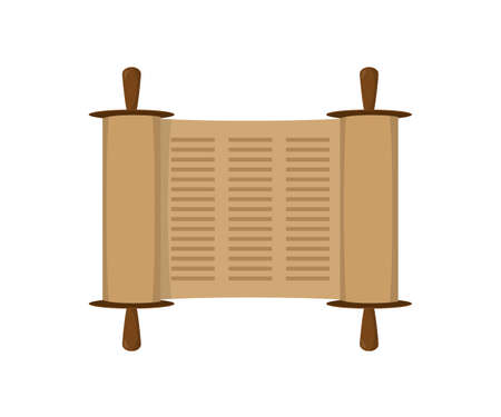 pentateuch: Ancient scroll book in expanded form, Torah scroll icon in flat style. Vector illustration Illustration