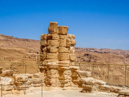 The ruins of the ancient Masada fortress in the Judaean Desert, Israel Stock Photo