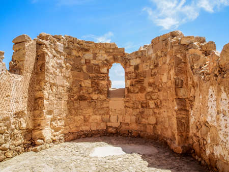 judaean: The ruins of the ancient Masada fortress in the Judaean Desert, Israel Stock Photo