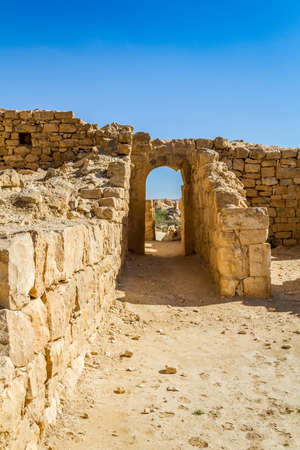 nabataean: The ruins of the ancient city. Shivta, Nabataean Town on the ancient spice route in the Negev Desert, Israel Stock Photo