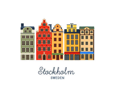 front of house: Gamla stan - Old Town of Stockholm, capital of Sweden. Vector illustration