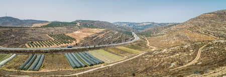 Rural landscape, farmland of settlement Shilo, the panoramic view from the archaeological park of Shiloh in Samaria, Israel Stock Photo