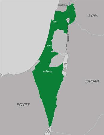 hebrew bible: Political map of Israel, vector illustration.
