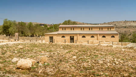 Byzantine basilica in the archaeological park of the Biblical Shiloh in Samaria, Israel Stock Photo
